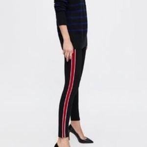 Zara Black Mid Rise Skinny Jean Red Side Stripe 6